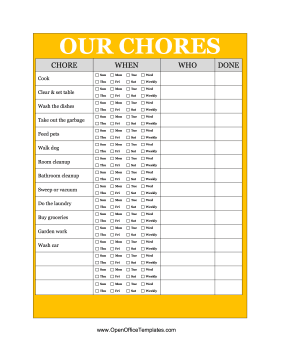 Yellow Family Chore Chart Openoffice Template