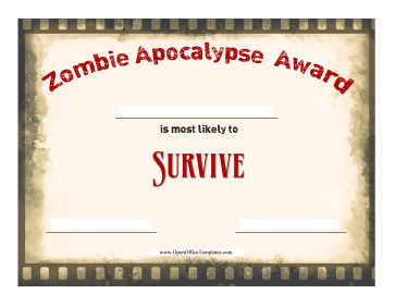 Zombie Survival Award OpenOffice Template