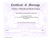 Purple Marriage Certificate OpenOffice Template